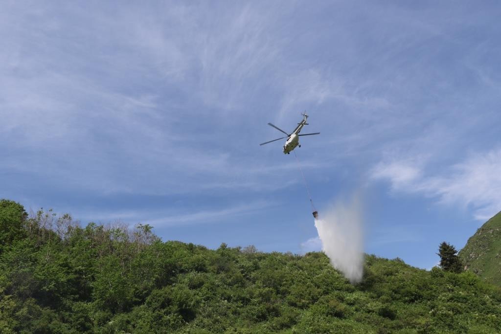 Спасатели потушили «лесной пожар» в Иле-Алатауском парке с помощью вертолетов, фото-1