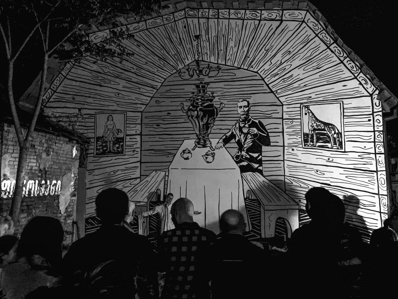 Стрит-арт художник из Алматы нарисовал Пиросмани с самоваром в Тбилиси, фото-1