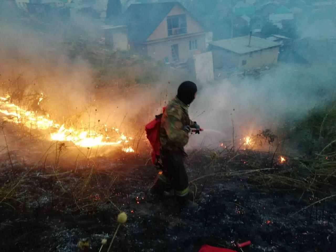 Крупное возгорание сухостоя произошло в селе Бесагаш близ Алматы, фото-2, Фото пресс-службы ДЧС