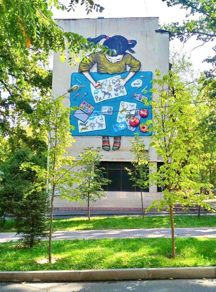 Новый мурал появился на фасаде дома по Курмангазы в Алматы, фото-1, Фото: Молдир Бекжан
