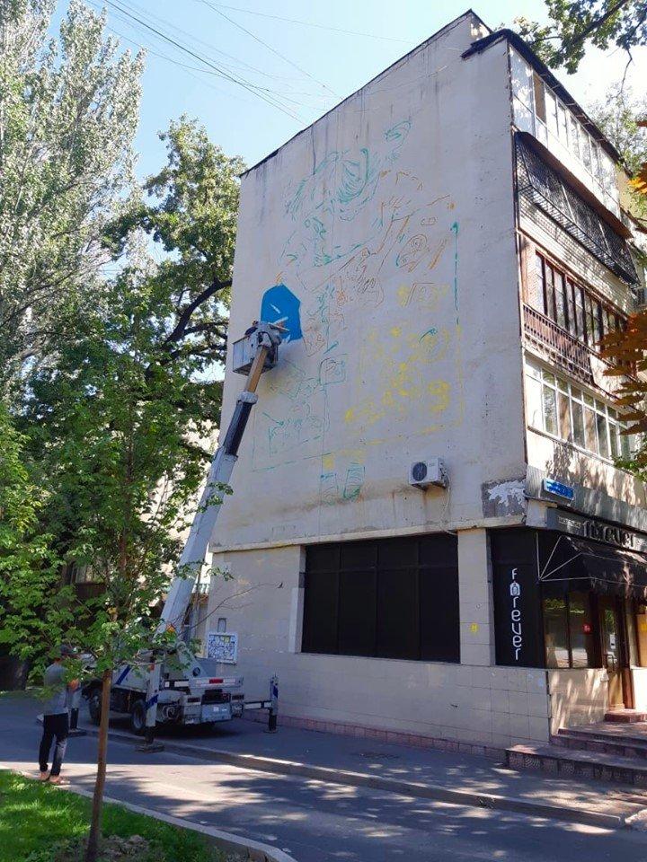 Новый мурал появился на фасаде дома по Курмангазы в Алматы, фото-4, Фото: Молдир Бекжан