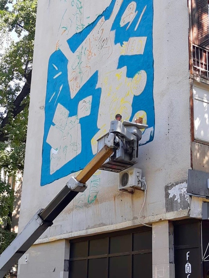 Новый мурал появился на фасаде дома по Курмангазы в Алматы, фото-6, Фото: Молдир Бекжан