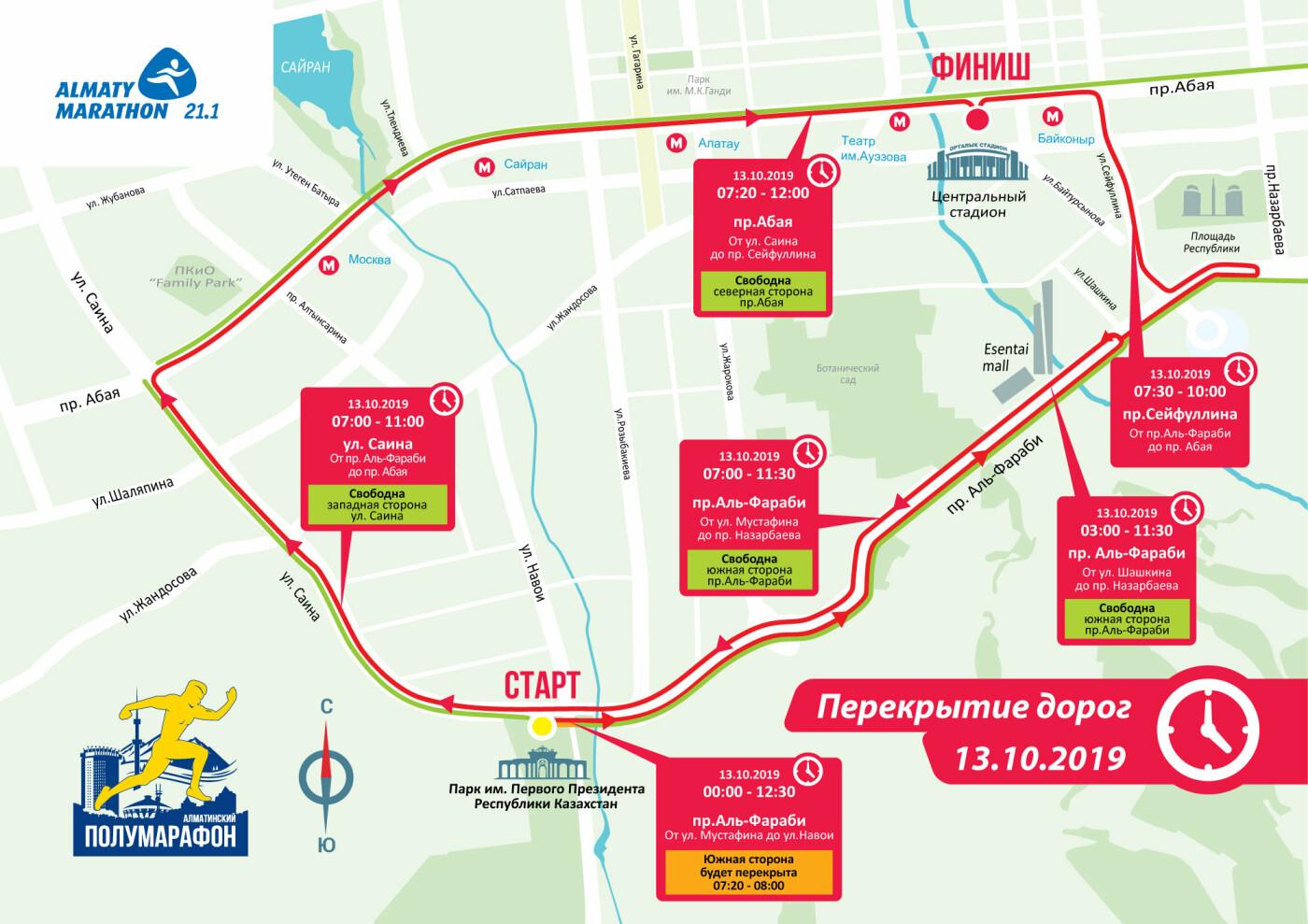 Дороги Алматы перекроют 13 октября из-за полумарафона, фото-1