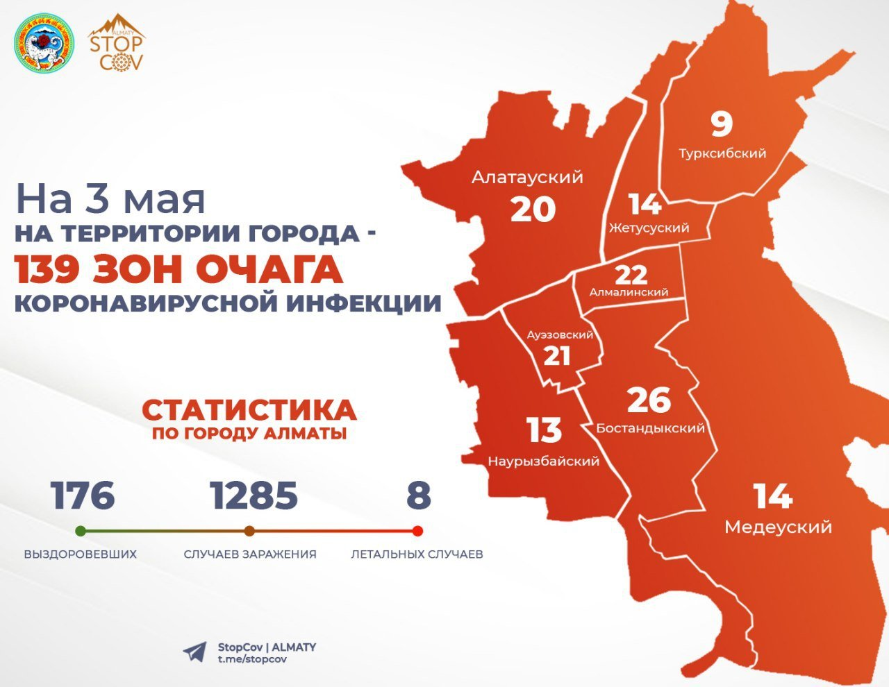 Зоны очага на 3 мая, ДККБТУ Алматы