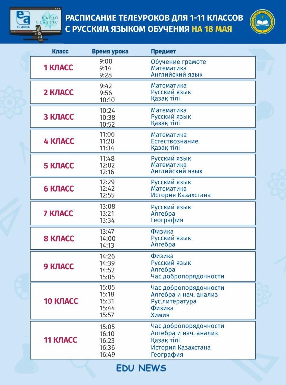 расписание уроков - МОН РК