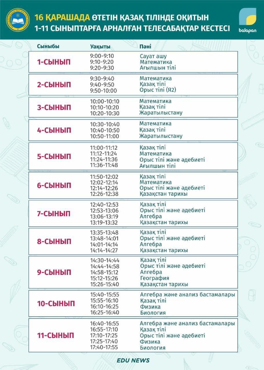 Расписание уроков, МОН РК